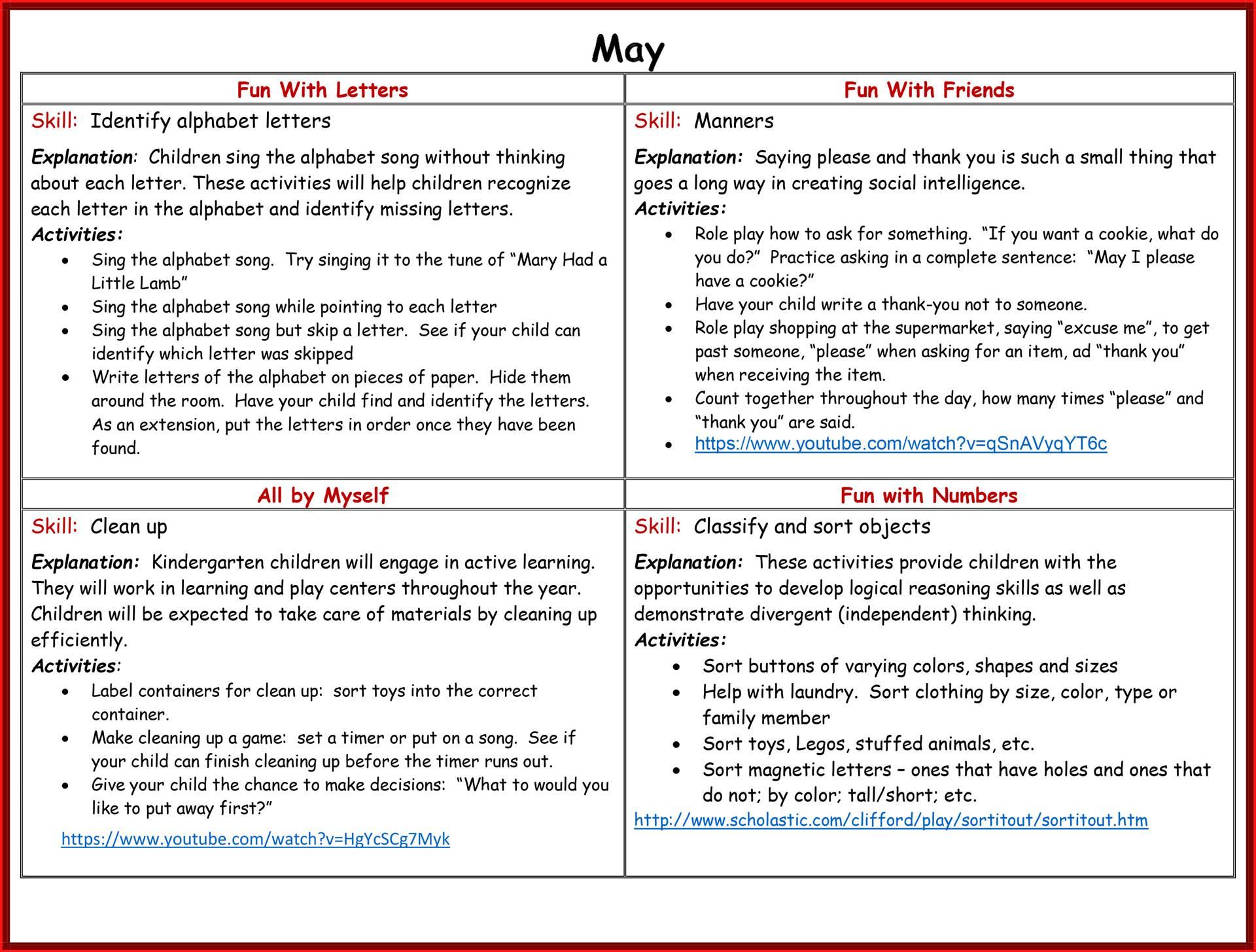 Kindergarten Readiness Calendar - May page 2