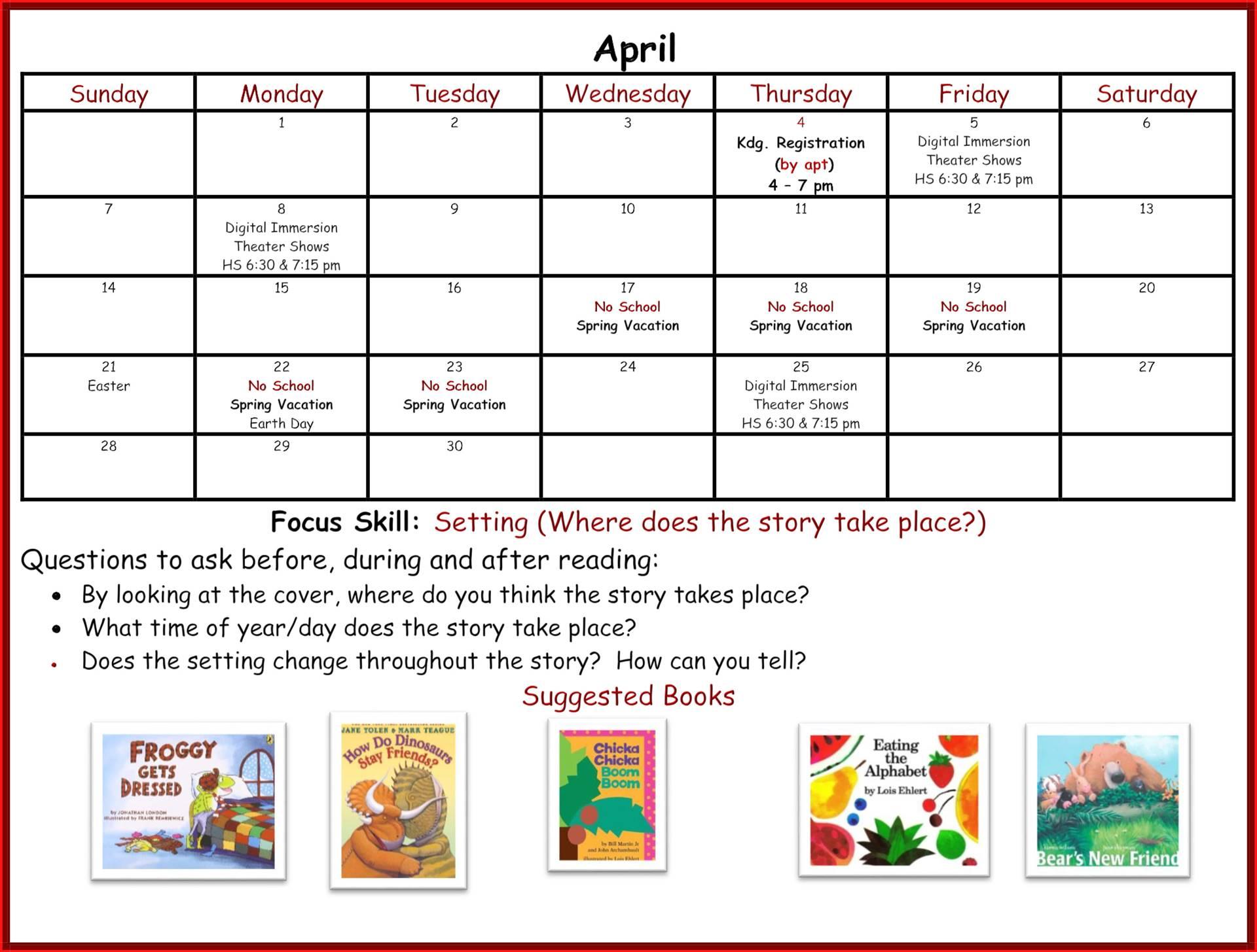Kindergarten Readiness Calendar - April page 1