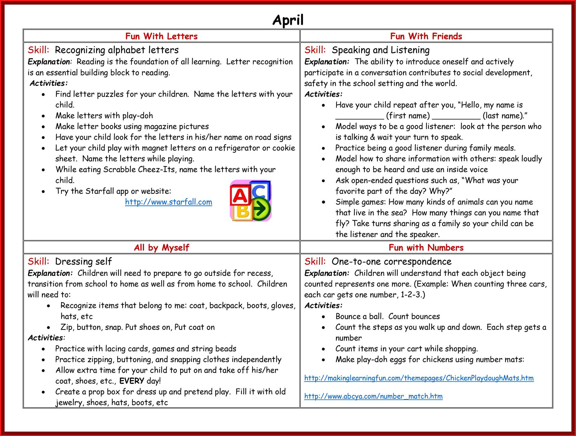 Kindergarten Readiness Calendar - April page 2