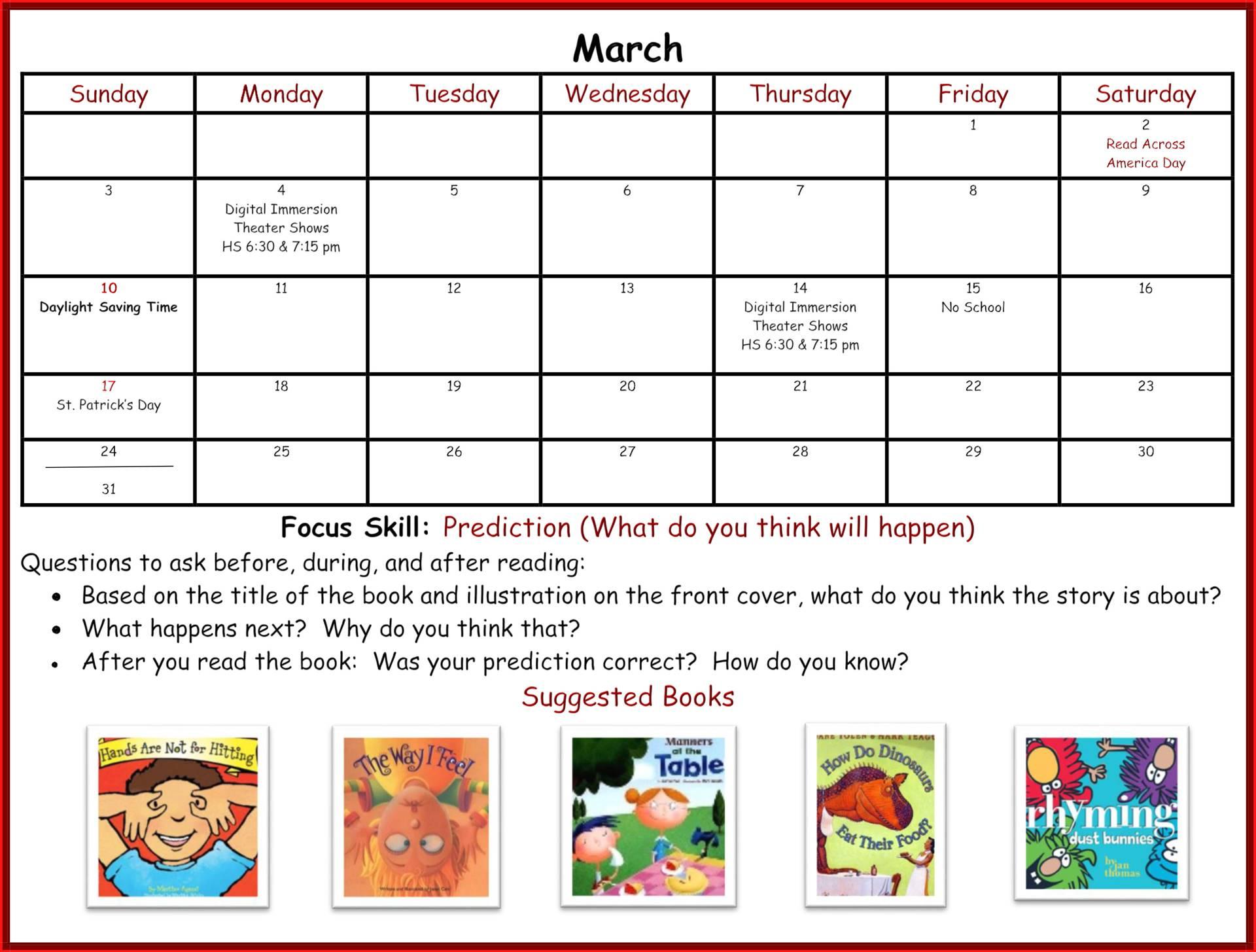 Kindergarten Readiness Calendar - March page 1
