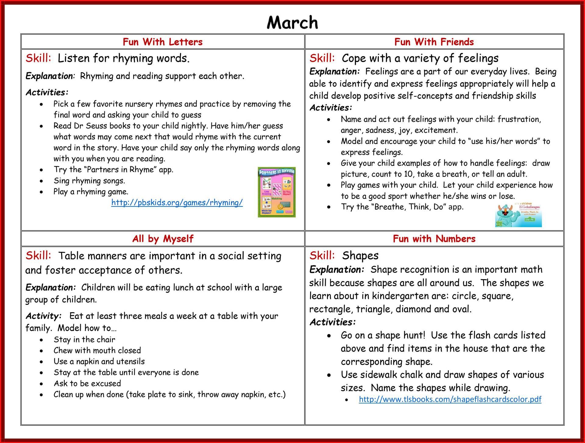 Kindergarten Readiness Calendar - March page 2
