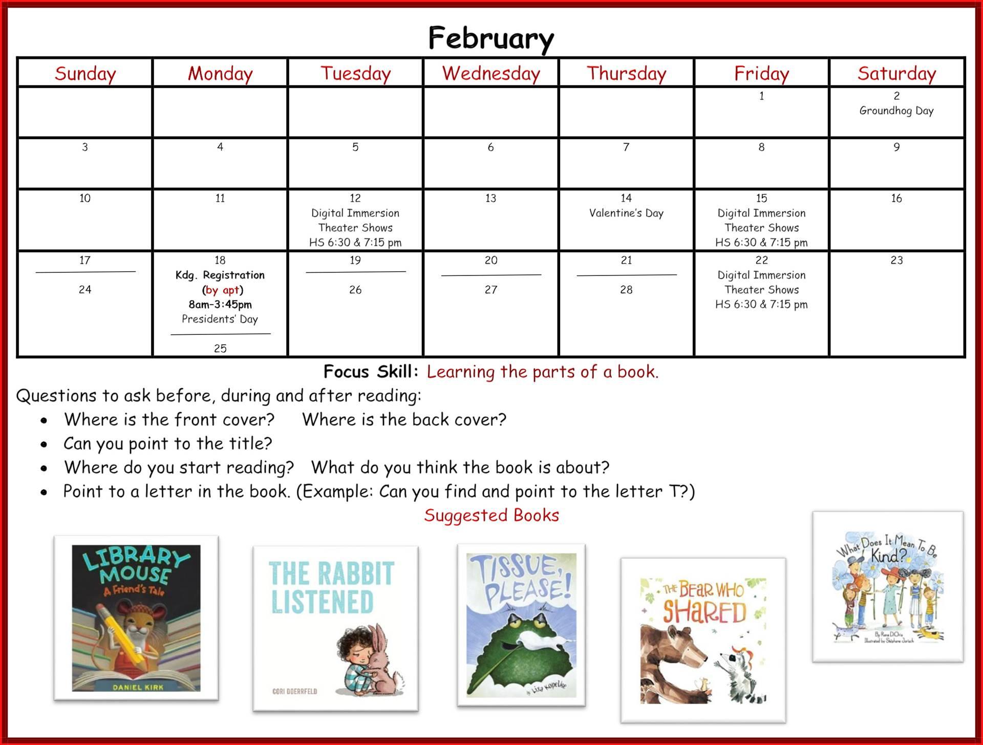 Kindergarten Readiness Calendar - February page 1