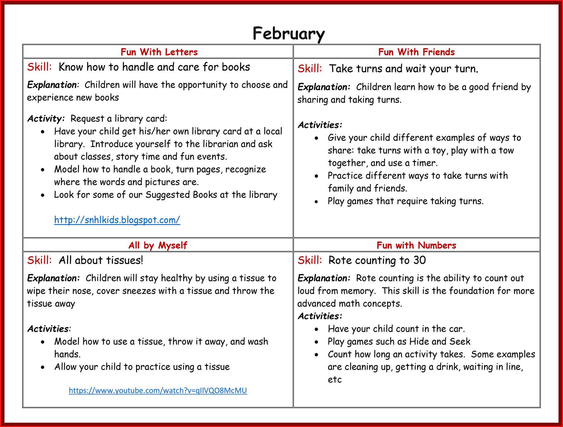 Kindergarten Readiness Calendar - February page 2