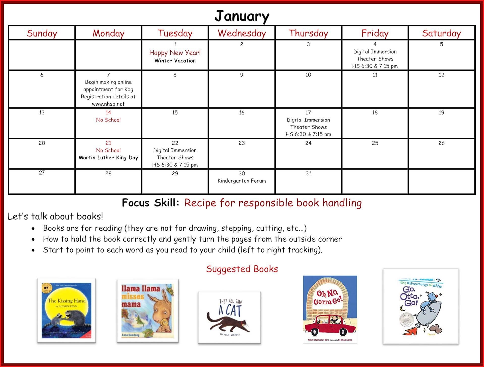 Kindergarten Readiness Calendar - January page 1