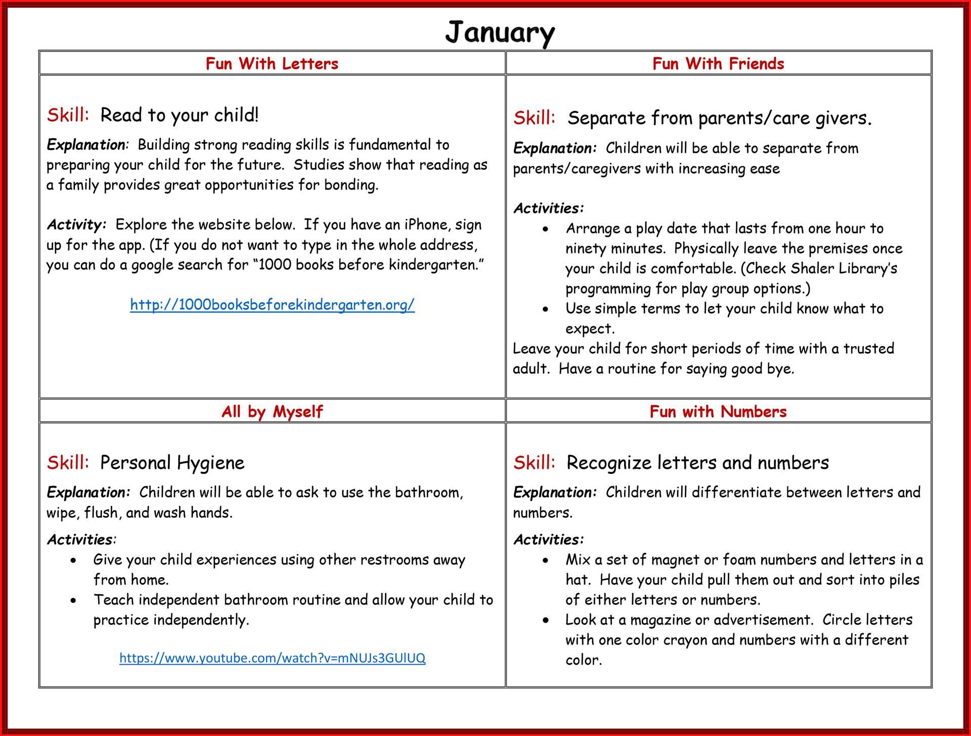 Kindergarten Readiness Calendar - January page 2