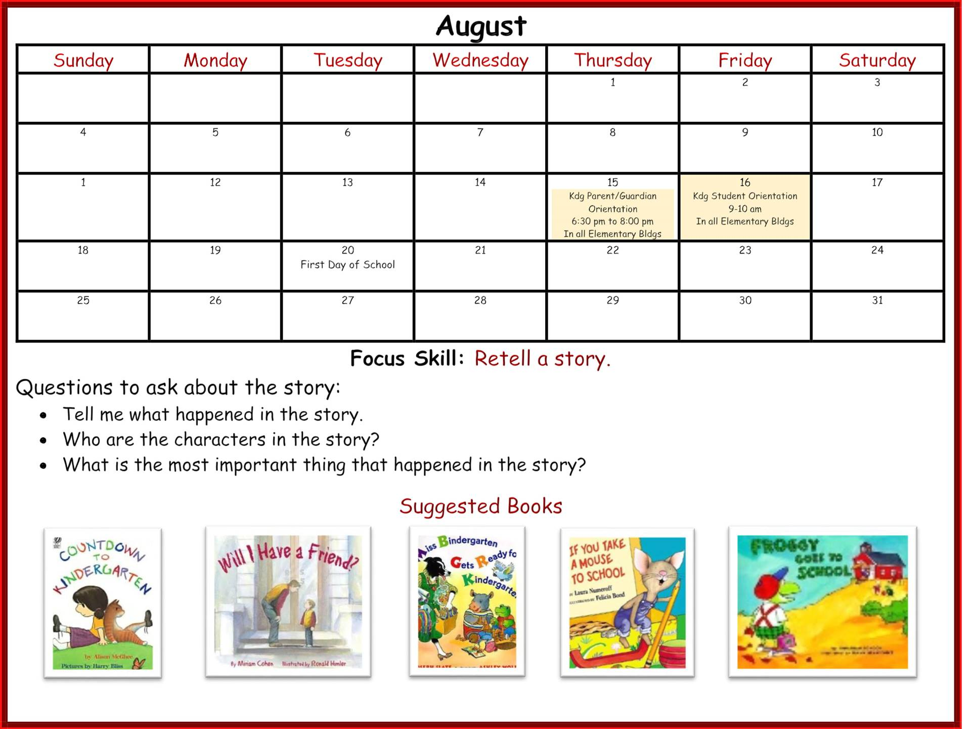 Kindergarten Readiness Calendar - August page 1