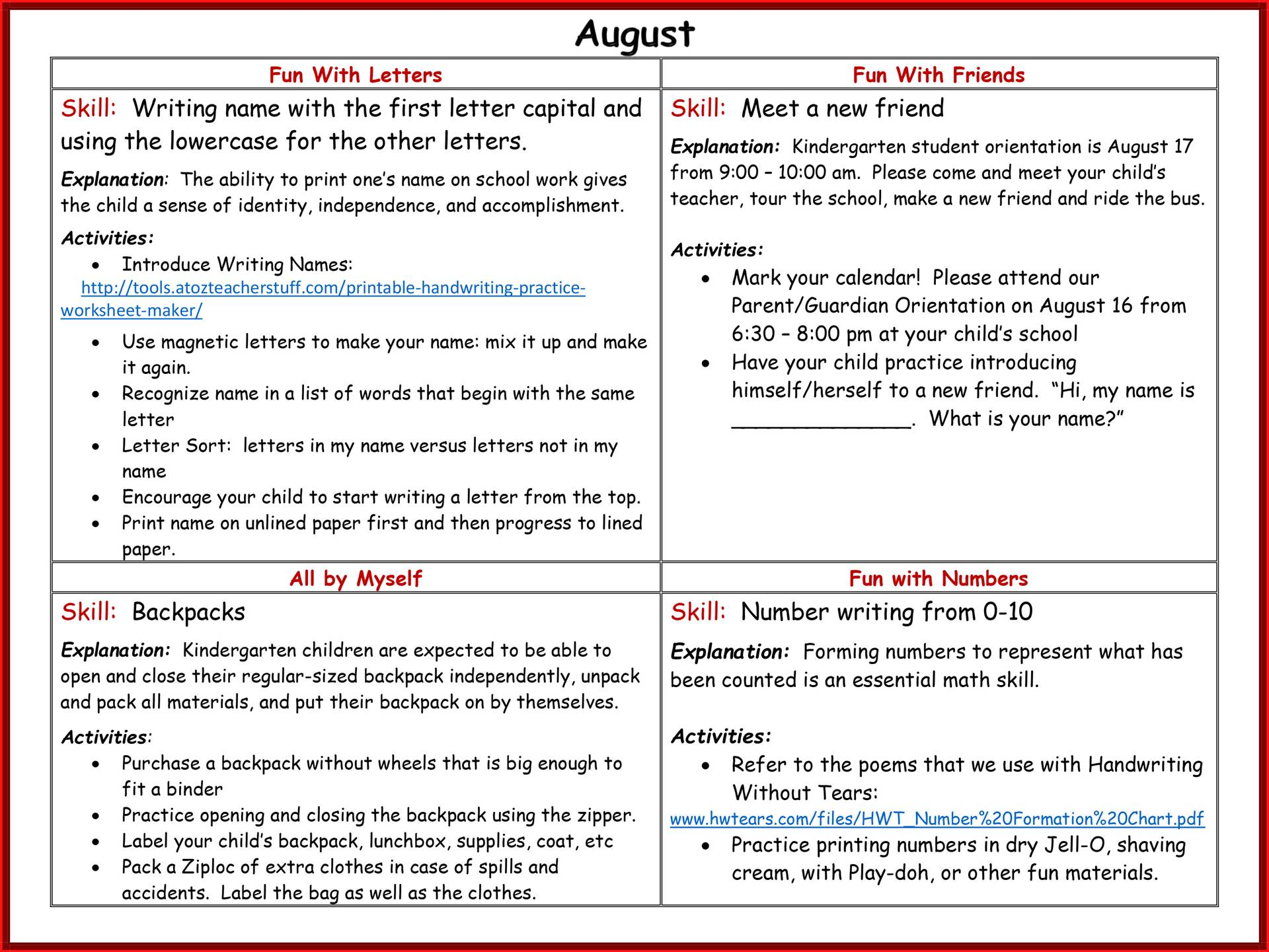 Kindergarten Readiness Calendar - August page 2