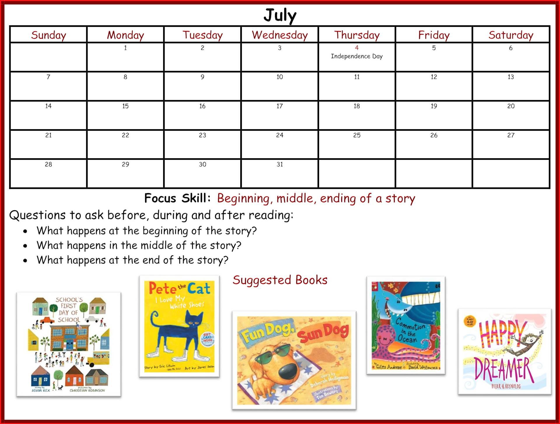 Kindergarten Readiness Calendar - July page 1