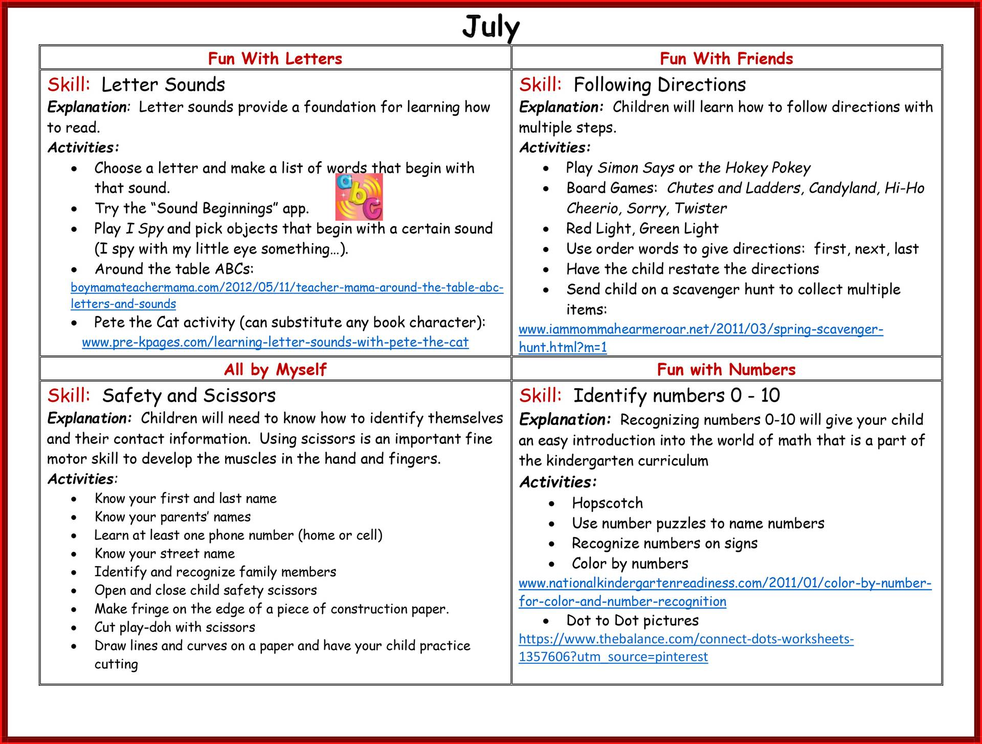 Kindergarten Readiness Calendar - July page 2