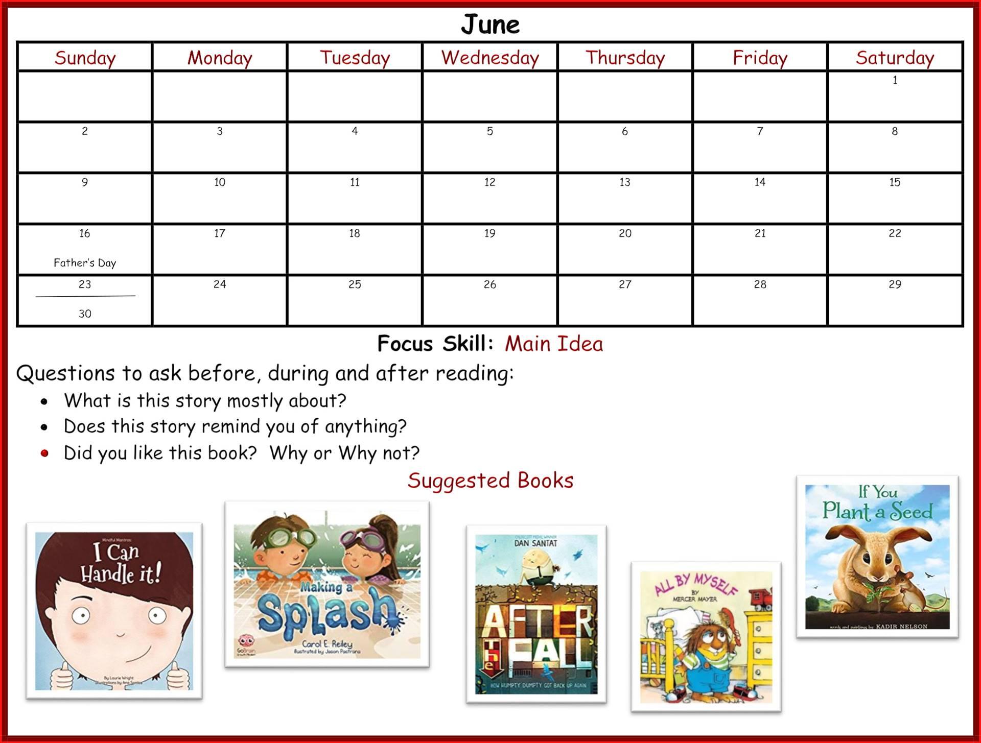 Kindergarten Readiness Calendar - June page 1