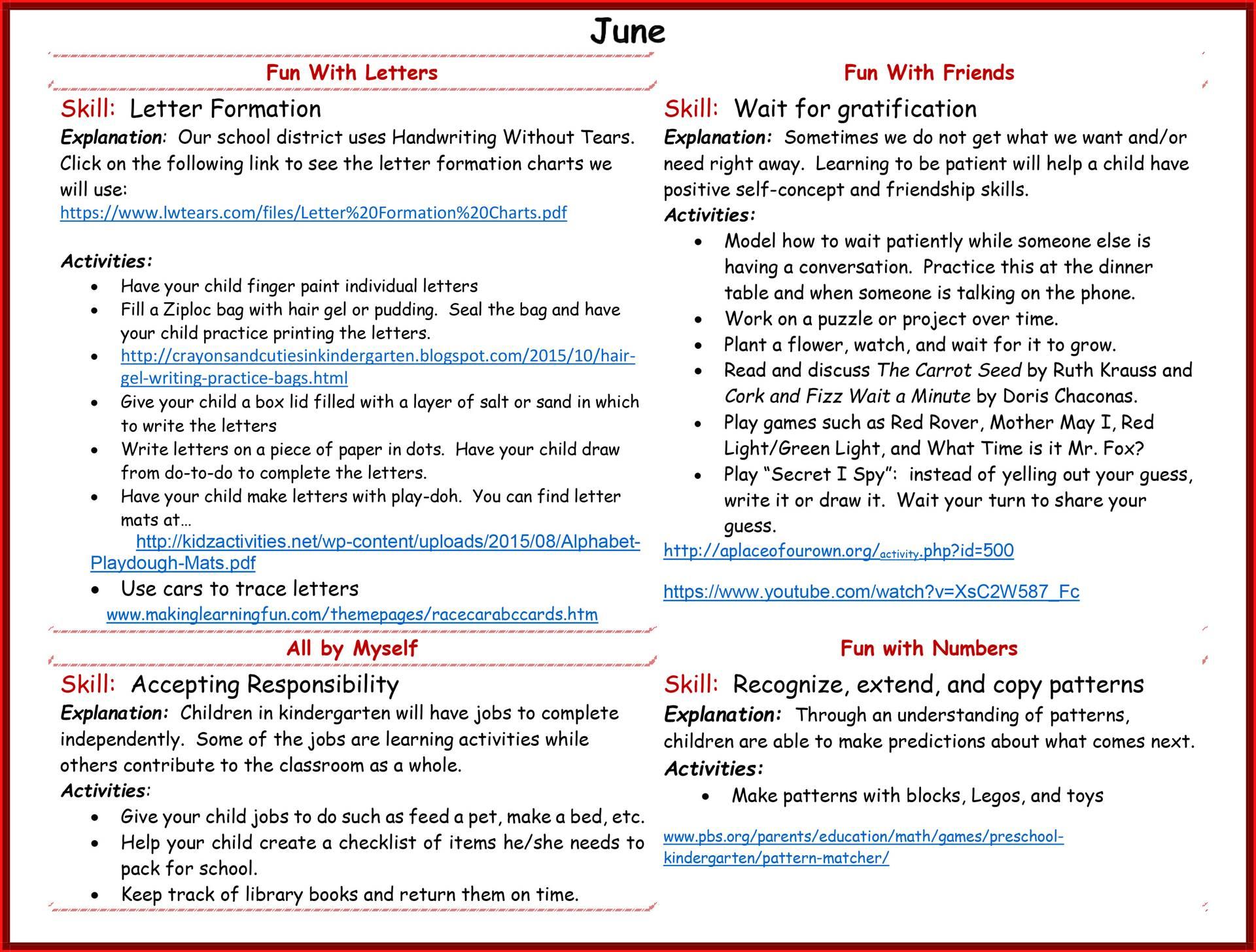 Kindergarten Readiness Calendar - June page 2