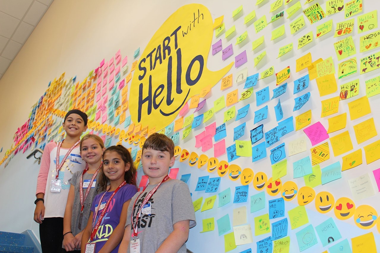 Start with Hello Post-it wall at McIntyre Elementary School
