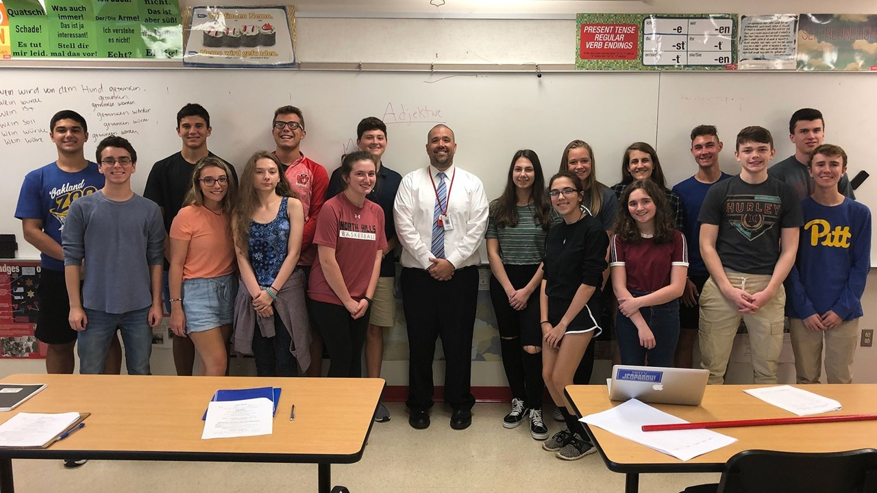 North Hills High School German teacher Joe Deible with students in his class