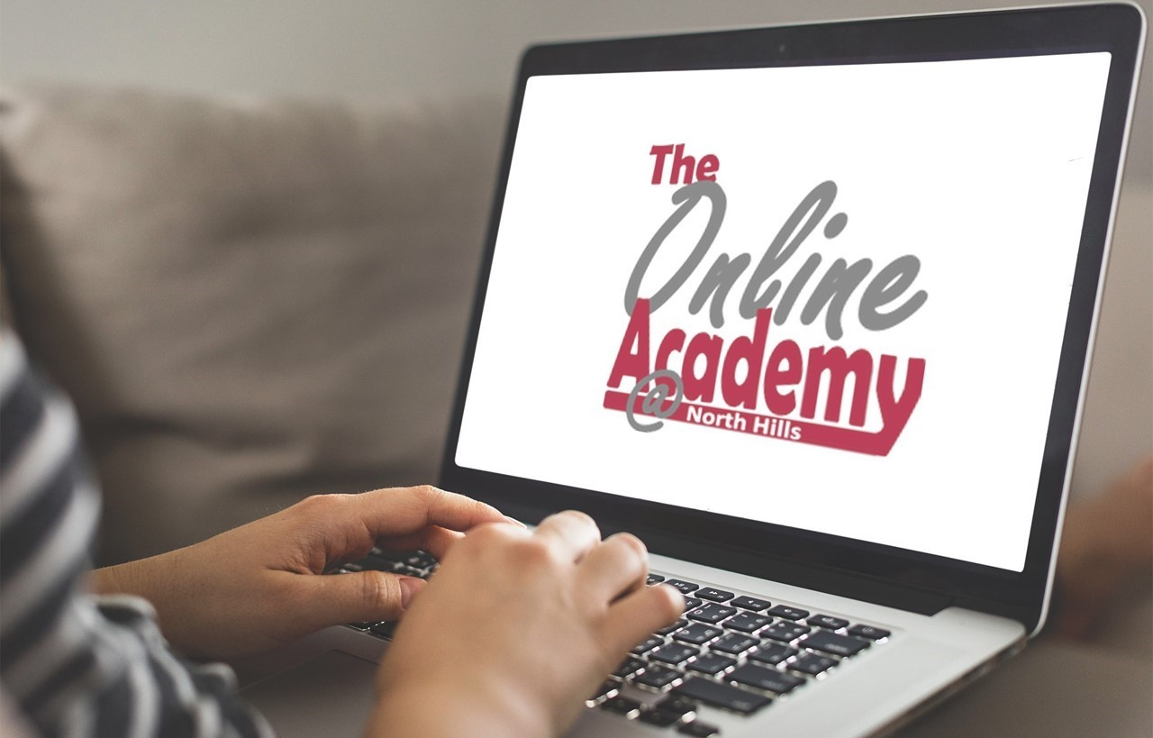 Computer screen showing North Hills' Online Academy