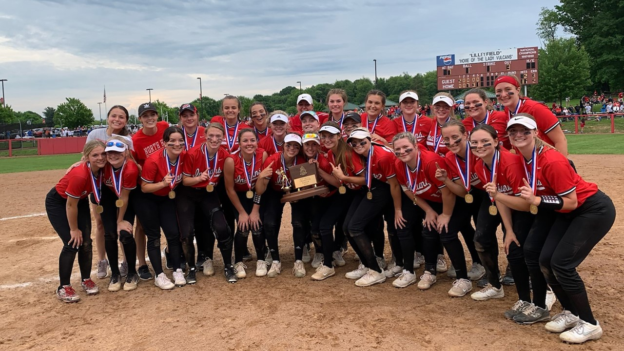 2021 North Hills girls softball team with WPIAL championship trophy