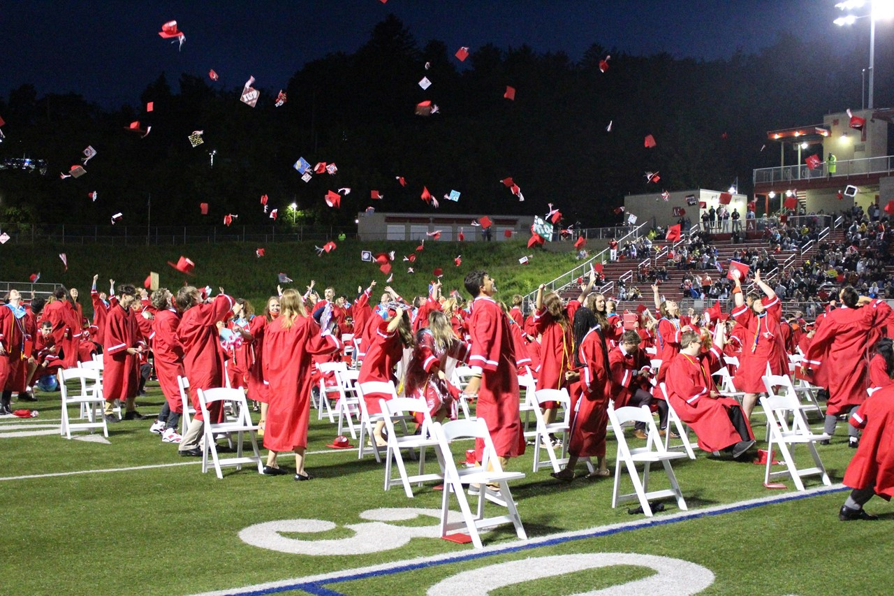 Class of 2021 graduates tossing their caps at commencement