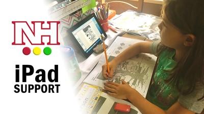 iPad support, student working on iPad